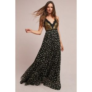 Ranna Gill Lakshmi Floral Gold Sequin Maxi Dress